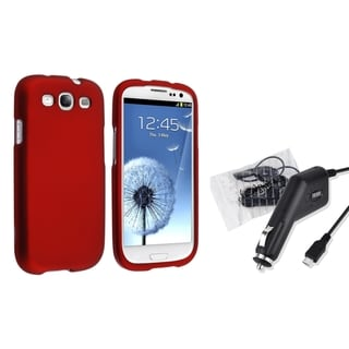 BasAcc Red Snap-on Case/ Car Charger for Samsung Galaxy S3/ SIII
