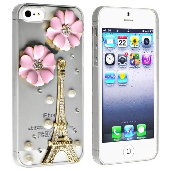 BasAcc Clear Iron Tower with Flower & Pearl Case for Apple iPhone 5
