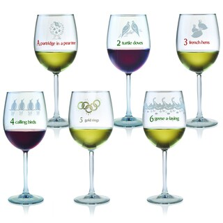 12 Days of Christmas All Purpose Wine Glasses (Set of 12)