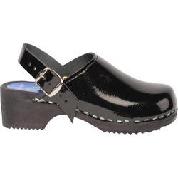 Children's Cape Clogs Solids Adjustable Black Patent Leather