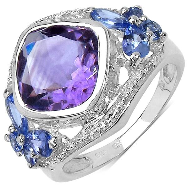Malaika Sterling Silver 4 3/5ct TGW Amethyst and Taznanite Ring