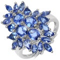 Malaika Sterling Silver 3 1/3ct TGW Tanzanite Cluster Ring