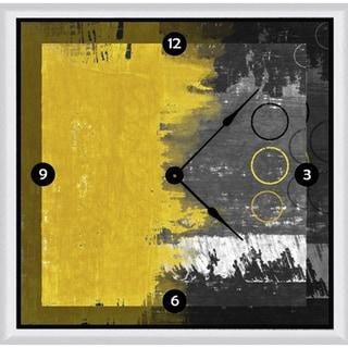 Ankan 'Yellow & Gray Retro' Framed Clock Art