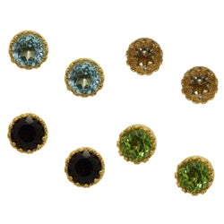 Gioelli High-Polish Gold-over-Silver 6-mm Crown-Set Created Gemstone Earrings
