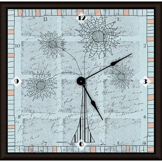 Ankan 'Outline Floral Blue' Framed Clock Art