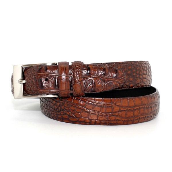 Toneka Men's Alligator Embossed Faux-leather Belt