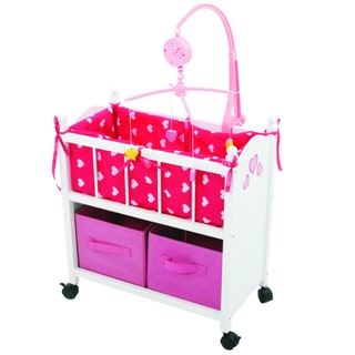 The New York Doll Collection Doll Baby Crib with Mobile