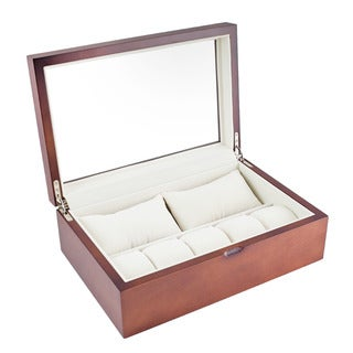 Caddy Bay Collection Vintage Wood Finish Glass Top 10 Watch Case