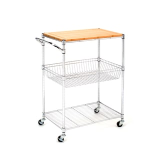 Seville Classics Kitchen Utility Cart with Bamboo Top