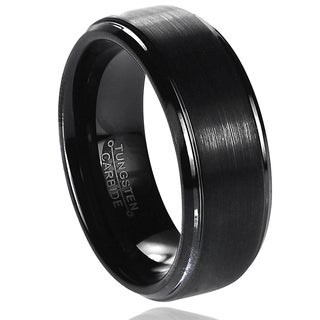 Vance Co. Men's Tungsten Carbide Brushed Stepped Edge Band (8 mm)