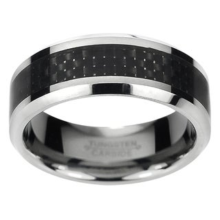 Daxx Men's Tungsten Carbide Black Carbon Fiber Inlay Band (8 mm)