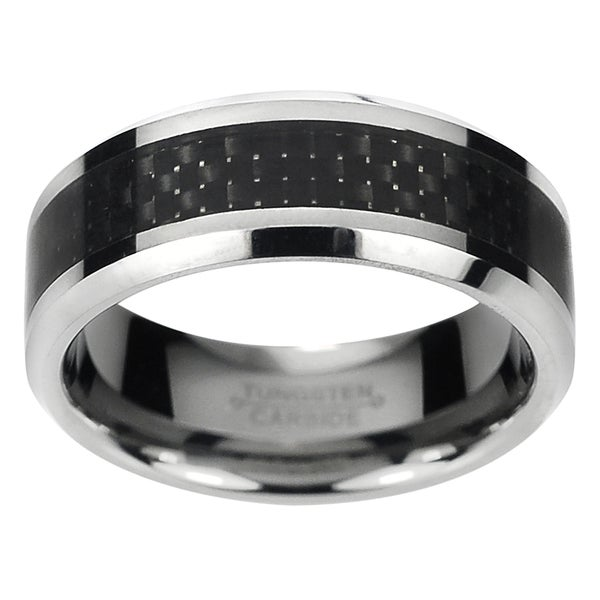 Vance Co. Men's Tungsten Carbide Black Carbon Fiber Inlay Band (8 mm)