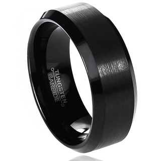 Vance Co. Men's Tungsten Carbide Brushed Beveled Edge Band (8 mm)