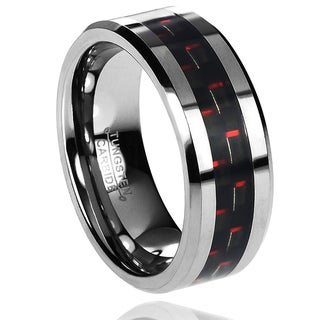 Daxx Men's Tungsten Carbide Black and Red Carbon Fiber Inlay Band (8 mm)