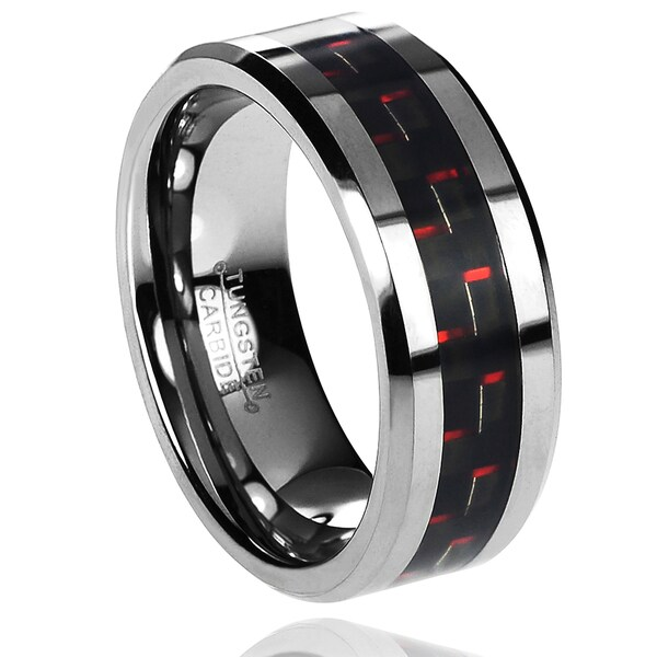 Vance Co. Men's Tungsten Carbide Black and Red Carbon Fiber Inlay Band (8 mm)