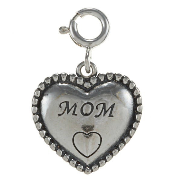 Sterling Silver Beaded Heart Family Charm