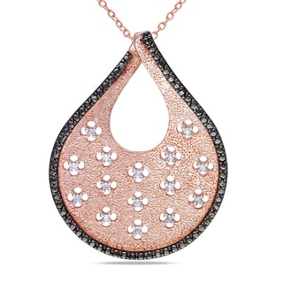 M by Miadora Rose-plated Silver 1/6ct TDW Diamond Necklace (H-I, I2-I3)