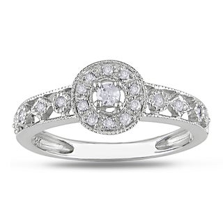 Miadora 10k White Gold 1/6ct TDW Diamond Cluster Ring (H-I, I2-I3)