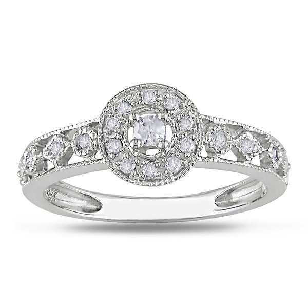 Miadora 10k White Gold 1/6ct TDW Diamond Cluster Milgrain Ring (H-I, I2-I3)