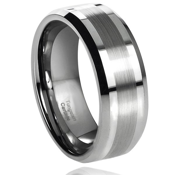 Vance Co. Men's Tungsten Carbide Brushed Center Band (8 mm)