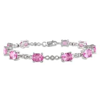 Miadora Silver Pink Sapphire and 1/8ct TDW Diamond Bracelet (H-I, I2-I3)
