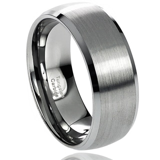 Vance Co. Men's Tungsten Carbide Brushed Center Beveled Edge Band (8 mm)