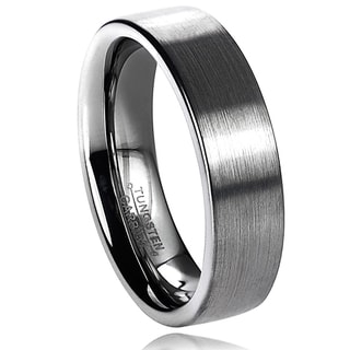 Vance Co. Men's Tungsten Carbide Brushed Flat Pipe Cut Band (6 mm)