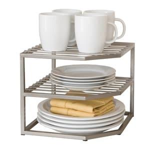 Seville Classics 2-Tier Iron Corner Shelf Kitchen Cabinet Organizer