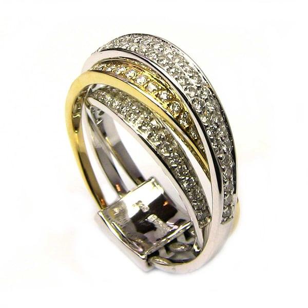 Sonia Bitton 14k Two-tone 3/4ct TDW Designer Multi Row Diamond Ring (G-H, SI1-SI2)