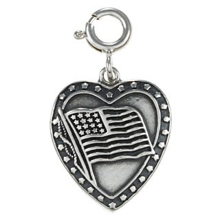 Sterling Silver American Flag in Heart Charm