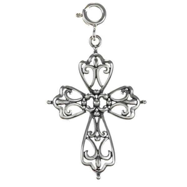 Sterling Silver Open Filigree Cross Charm