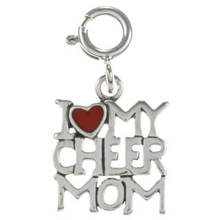 Sterling Silver 'I Love My Cheer Mom' Charm