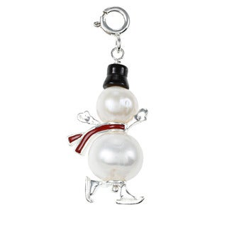 Sterling Silver FW Pearl and Onyx Snowman Charm (7-11 mm)