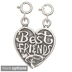 Sterling Silver 'Best Friends' Heart 2-piece Charm Set