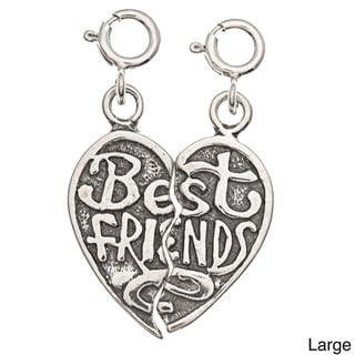 Sterling Silver 'Best Friends' Heart 2-piece Charm Set