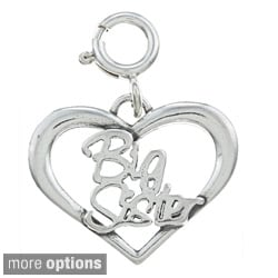 Sterling Silver Sister Heart Outline Charm
