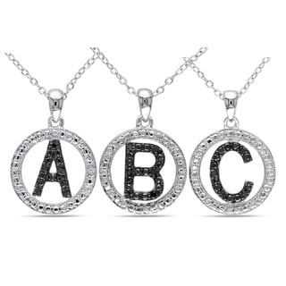 Haylee Jewels Sterling Silver Black Diamond Initial Necklace