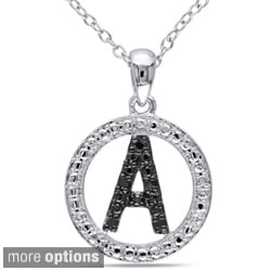 Miadora Sterling Silver Black Diamond Initial Necklace