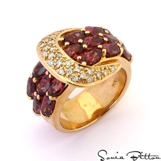 Sonia Bitton 14k Gold Rhodolite and 1/4ct TDW Diamond Ring (G-H, SI1-SI2)