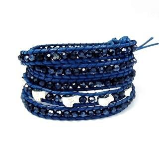 Immortal Skulls Blue Snake Cord Crystals Wrap Bracelet (Thailand)