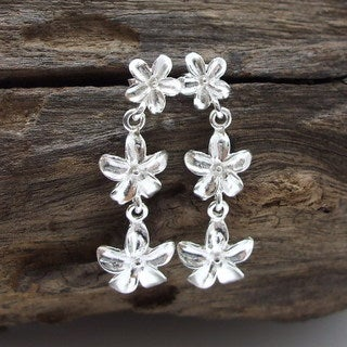 Triple Shiny Plumeria Flower Sterling Silver Earrings (Thailand)