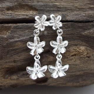 Triple Shiny Plumeria Flower Sterling Silver Earrings (Thailand)