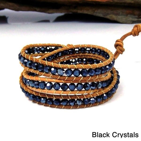 Natural Beauty Stones Three Wrap Nude Leather Bracelet (Thailand) 10270945