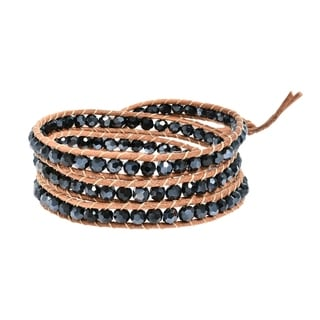 Natural Beauty Stones Three Wrap Nude Leather Bracelet (Thailand)