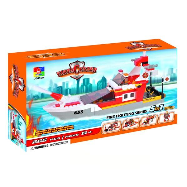 Fun Blocks Fire Rescue Boat 5-in-1 Brick Set