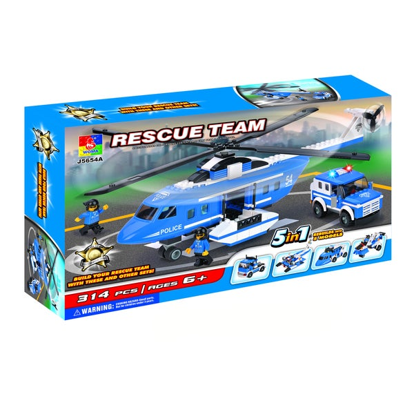 Fun Blocks Police Rescue Helicopter 5-in-1 Brick Set