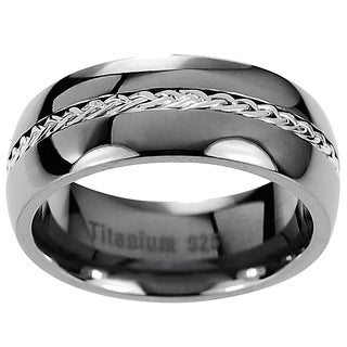 Vance Co. Men's Titanium Grooved and Braided Sterling Silver Inlay Band (8 mm)