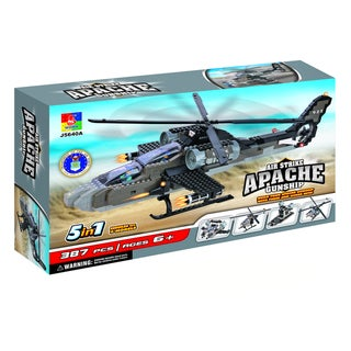 Fun Blocks Military Apache Helicopter 5-in-1 Brick Set (387 pieces)
