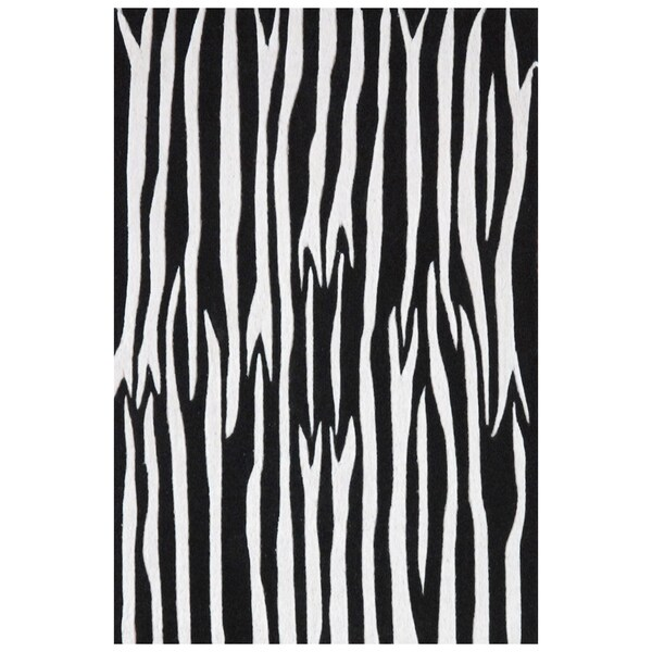 Black White Zebra Hand Tufted Wool Rug 8 X10 6