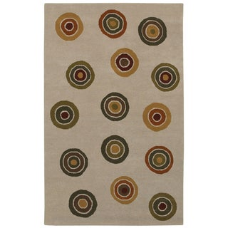 Beige/ Green Circle Hand-tufted Wool Rug